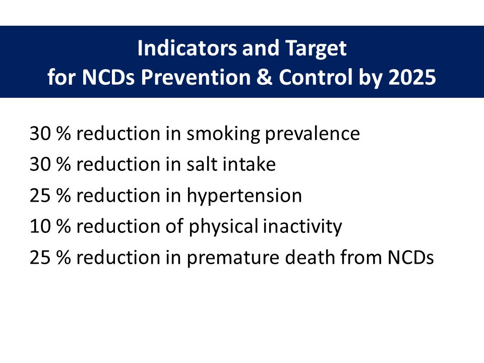 Indicators and Target for NCDs Prevention & Control by 2025
