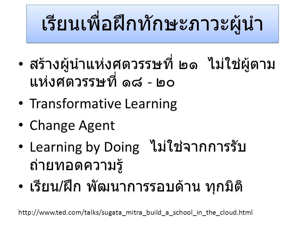 เรียนเพื่อฝึกทักษะภาวะผู้นำ