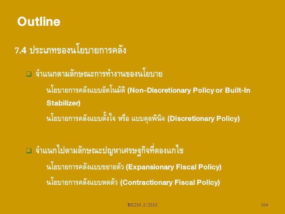 Outline 7.4 ประเภทของนโยบายการคลัง จำแนกตามลักษณะการทำงานของนโยบาย