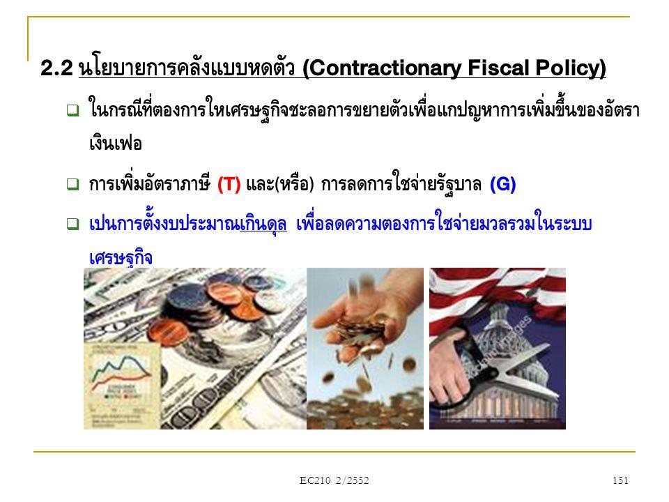 2.2 นโยบายการคลังแบบหดตัว (Contractionary Fiscal Policy)