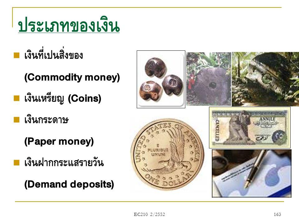 ประเภทของเงิน เงินที่เป็นสิ่งของ (Commodity money) เงินเหรียญ (Coins)
