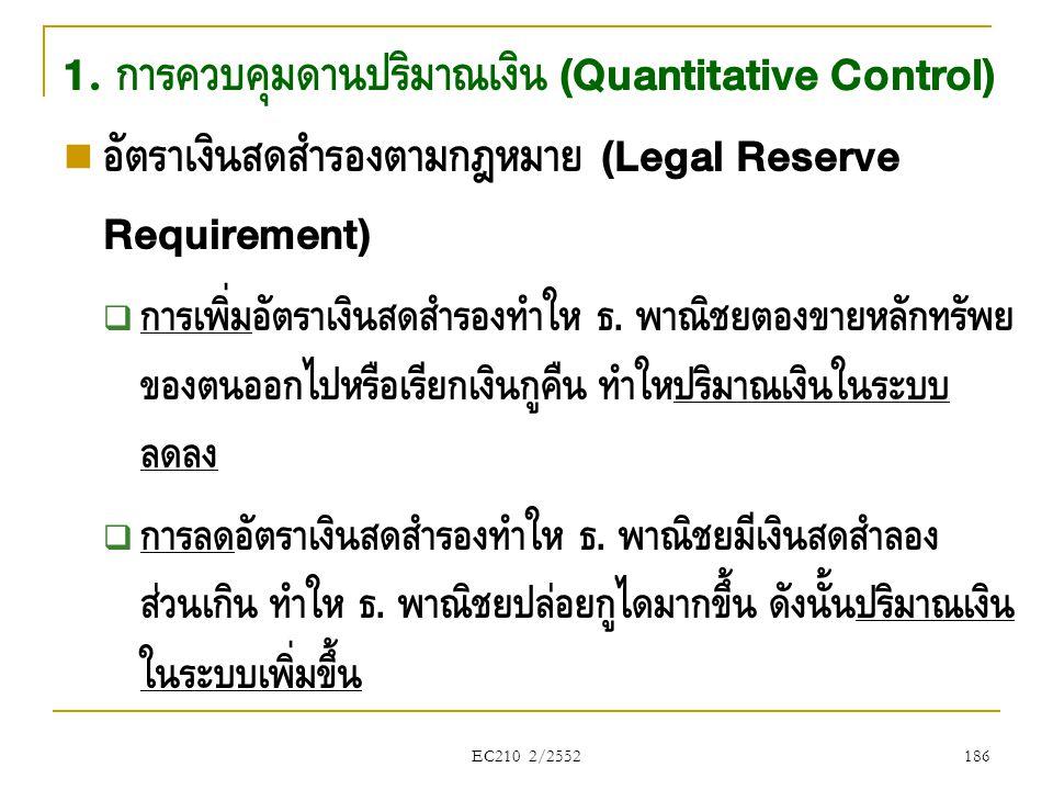 1. การควบคุมด้านปริมาณเงิน (Quantitative Control)