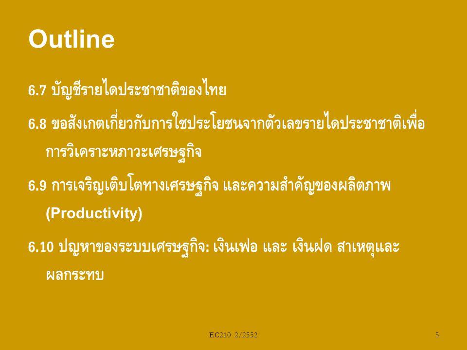 Outline 6.7 บัญชีรายได้ประชาชาติของไทย