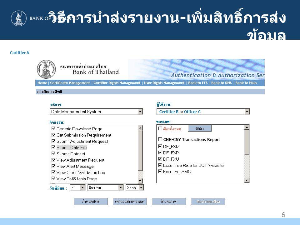 วิธีการนำส่งรายงาน-เพิ่มสิทธิ์การส่งข้อมูล