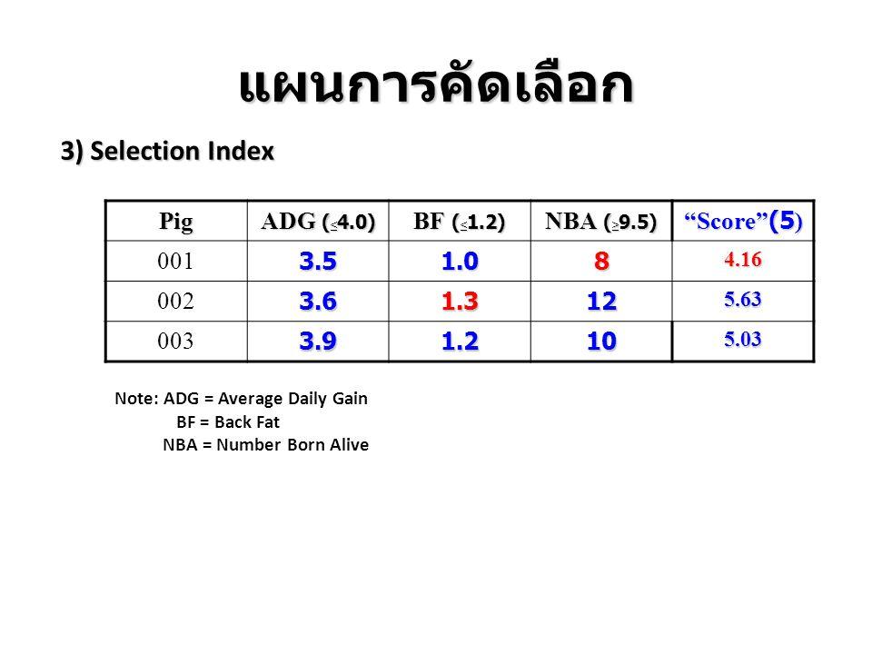 แผนการคัดเลือก 3) Selection Index Pig ADG (<4.0) BF (<1.2)