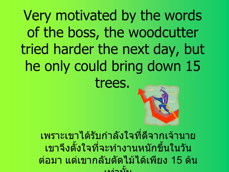 Very motivated by the words of the boss, the woodcutter tried harder the next day, but he only could bring down 15 trees.