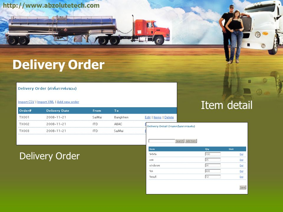 http://www.abzolutetech.com Delivery Order Item detail Delivery Order