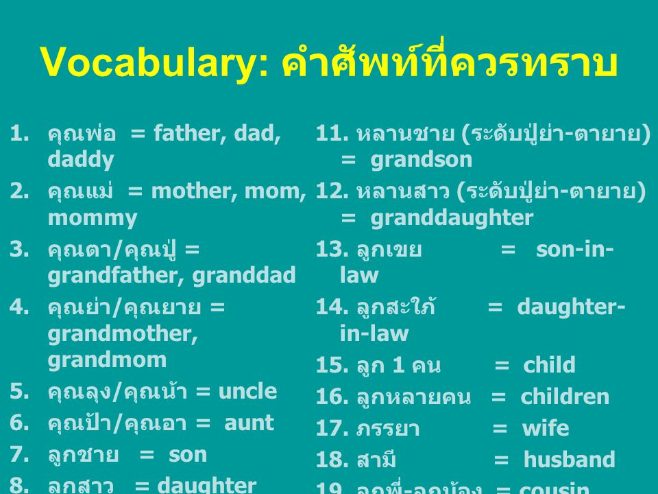 Vocabulary: คำศัพท์ที่ควรทราบ