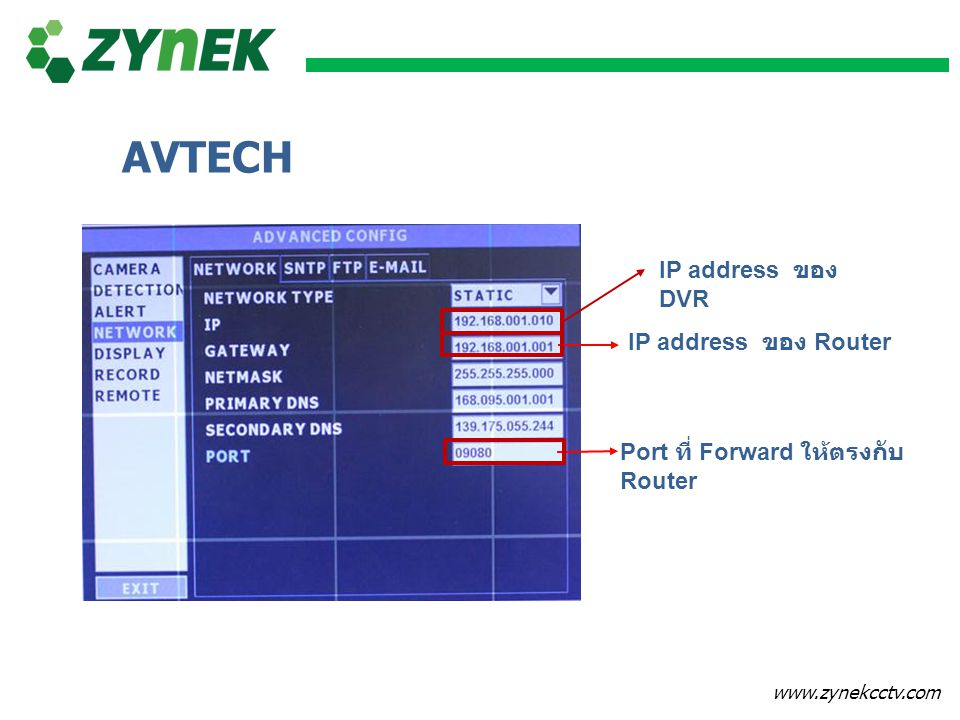 AVTECH IP address ของ DVR IP address ของ Router