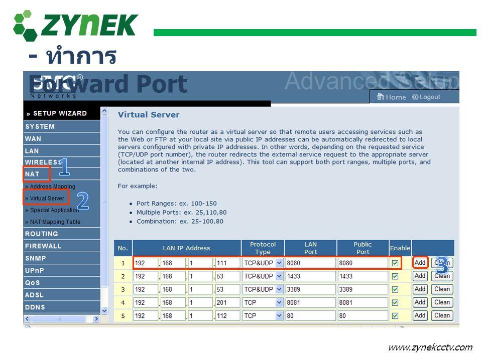 - ทำการ Forward Port 1 2 3