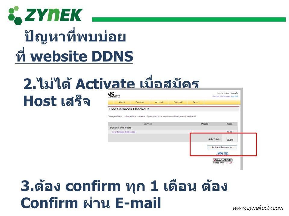 ปัญหาที่พบบ่อย ที่ website DDNS. 2.ไม่ได้ Activate เมื่อสมัคร Host เสร็จ.