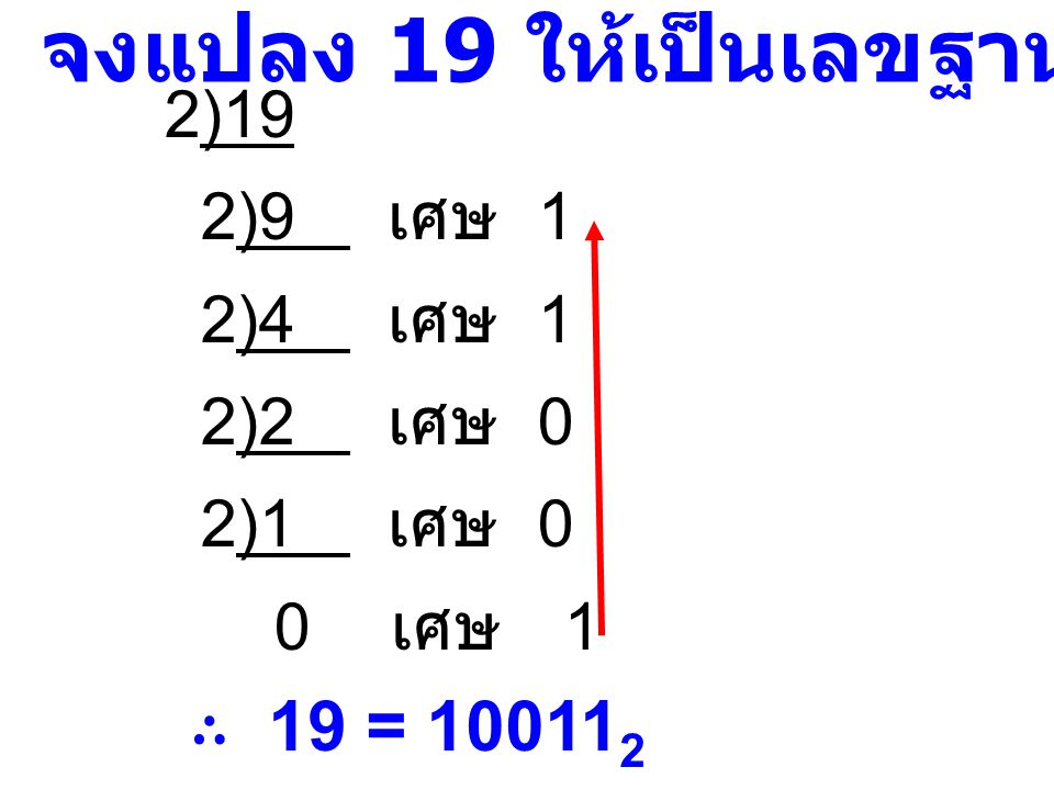 จงแปลง 19 ให้เป็นเลขฐานสอง