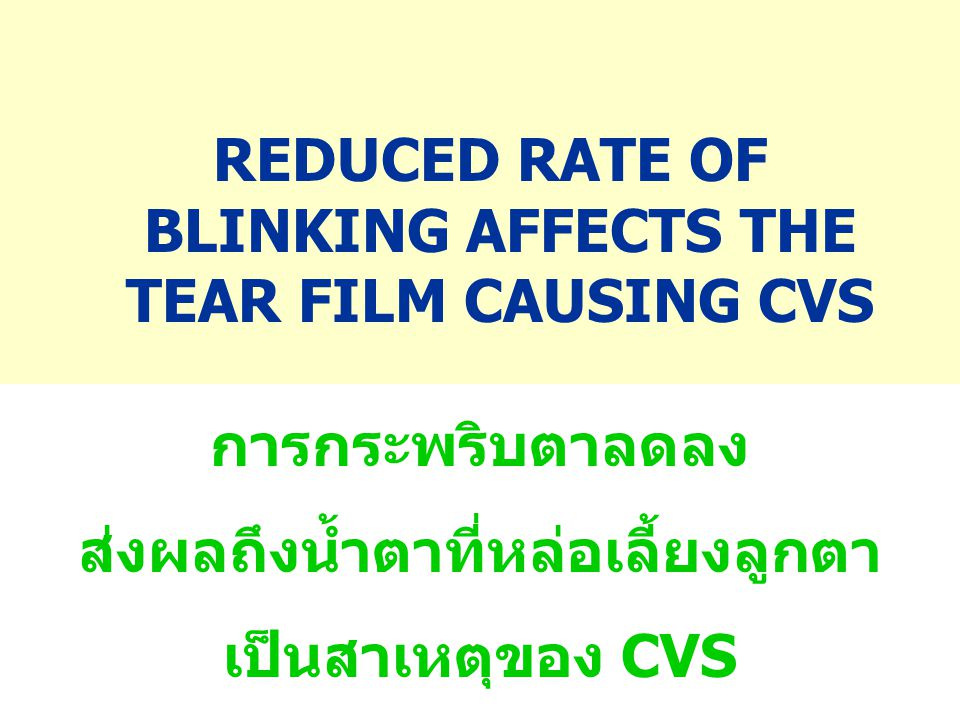 REDUCED RATE OF BLINKING AFFECTS THE TEAR FILM CAUSING CVS