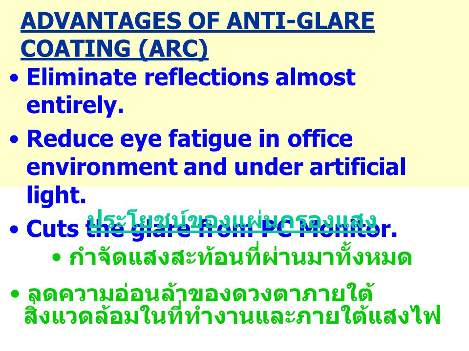 ADVANTAGES OF ANTI-GLARE COATING (ARC)