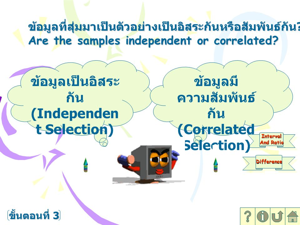 (Independent Selection) ข้อมูลมีความสัมพันธ์กัน (Correlated Selection)