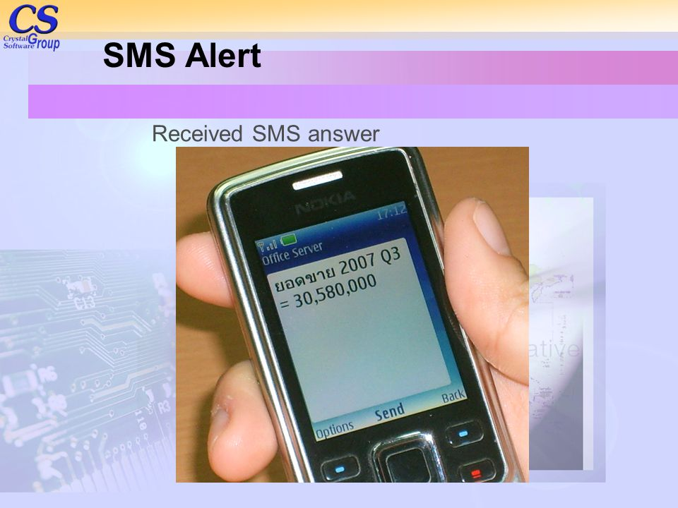 SMS Alert Received SMS answer