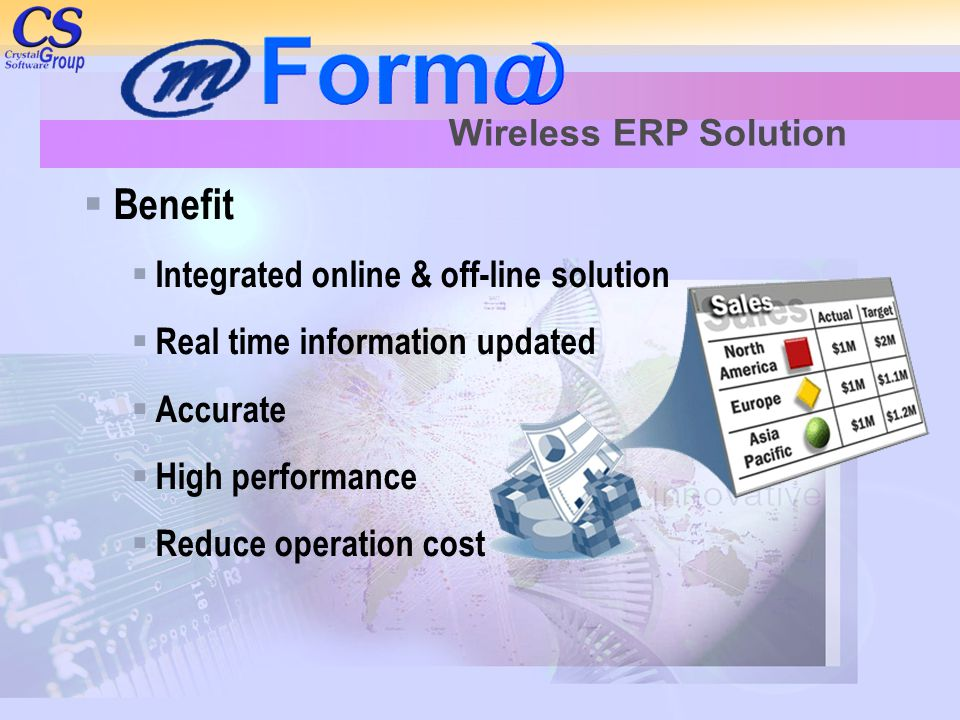Benefit Wireless ERP Solution Integrated online & off-line solution