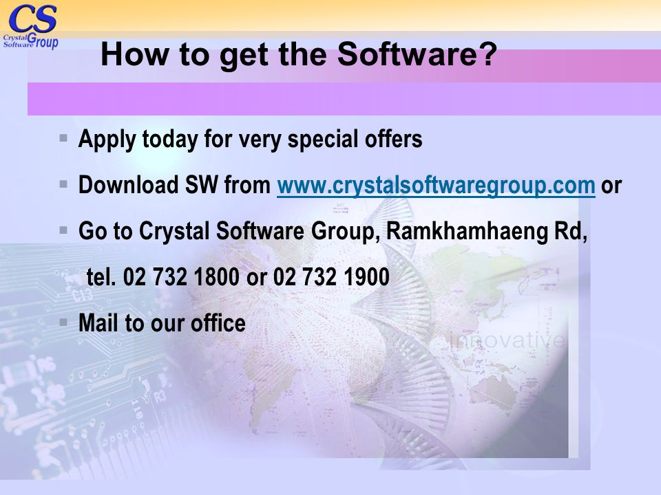 How to get the Software Apply today for very special offers