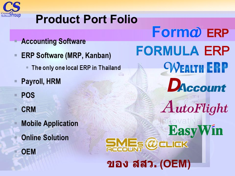 Product Port Folio ของ สสว. (OEM) Accounting Software