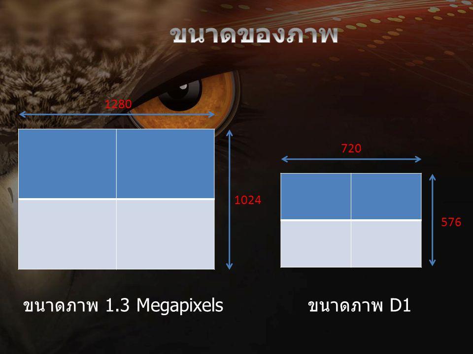 ขนาดของภาพ 1280 720 1024 576 ขนาดภาพ 1.3 Megapixels ขนาดภาพ D1