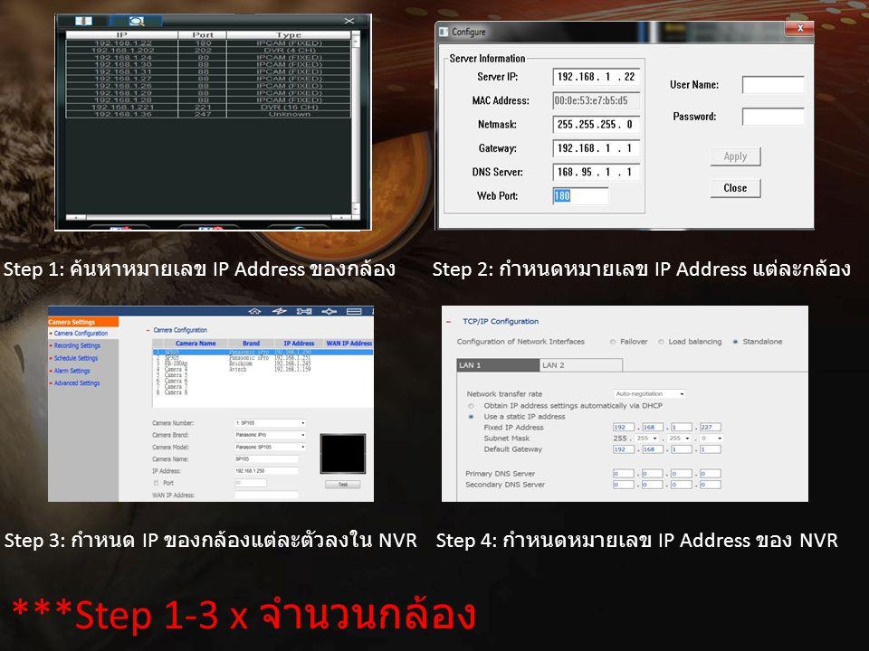 ***Step 1-3 x จำนวนกล้อง Step 1: ค้นหาหมายเลข IP Address ของกล้อง