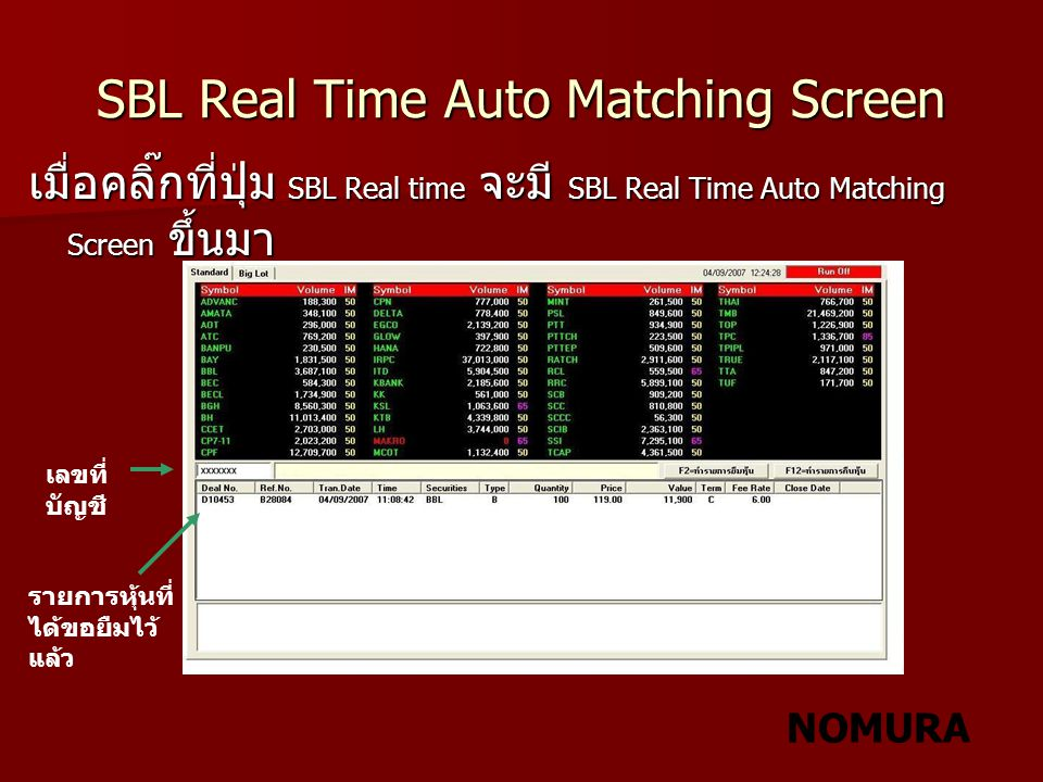 SBL Real Time Auto Matching Screen
