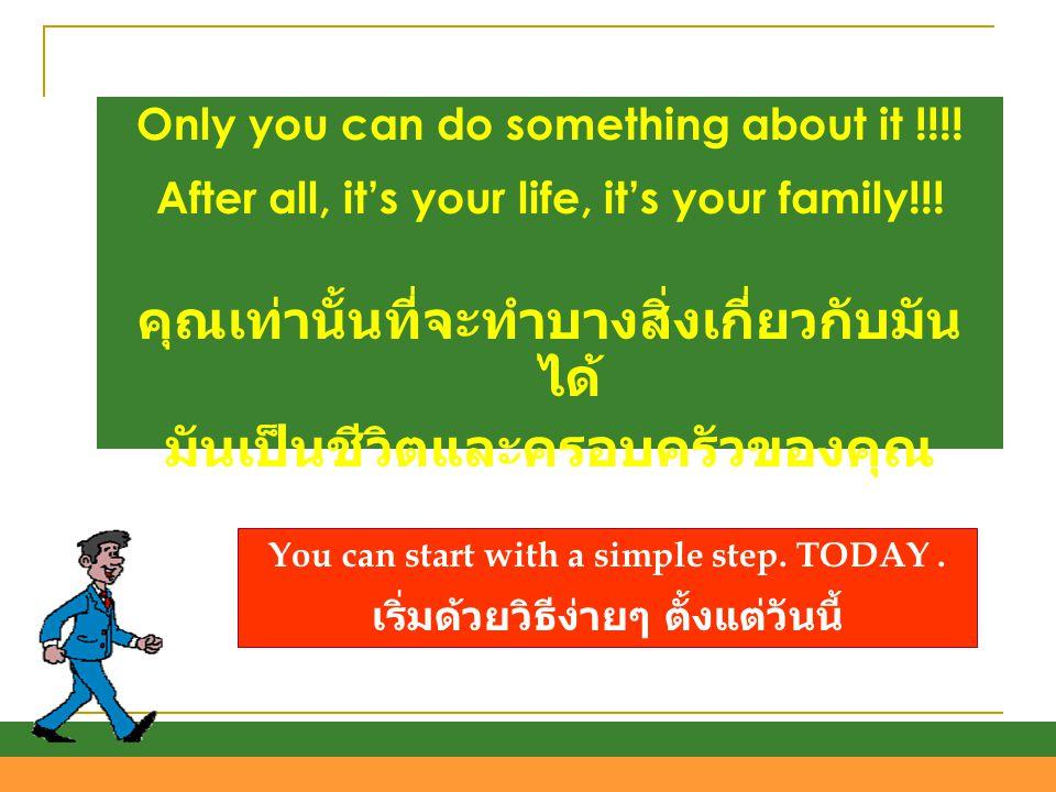 คุณเท่านั้นที่จะทำบางสิ่งเกี่ยวกับมันได้ มันเป็นชีวิตและครอบครัวของคุณ