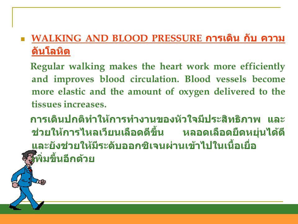 WALKING AND BLOOD PRESSURE การเดิน กับ ความดันโลหิต