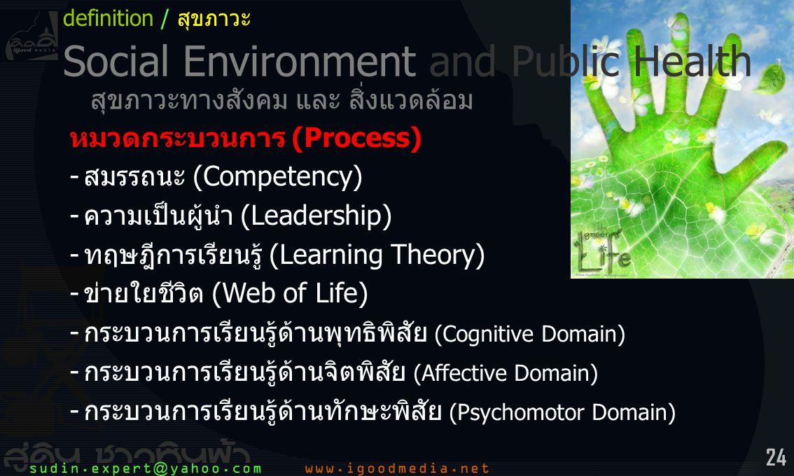 Social Environment and Public Health สุขภาวะทางสังคม และ สิ่งแวดล้อม