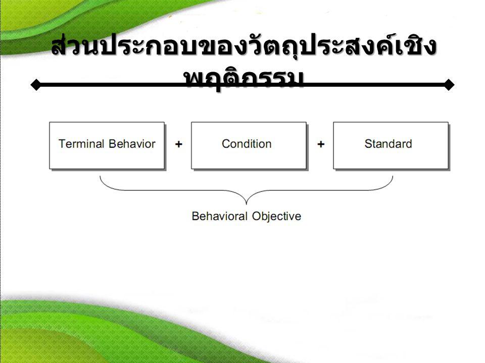 ส่วนประกอบของวัตถุประสงค์เชิงพฤติกรรม