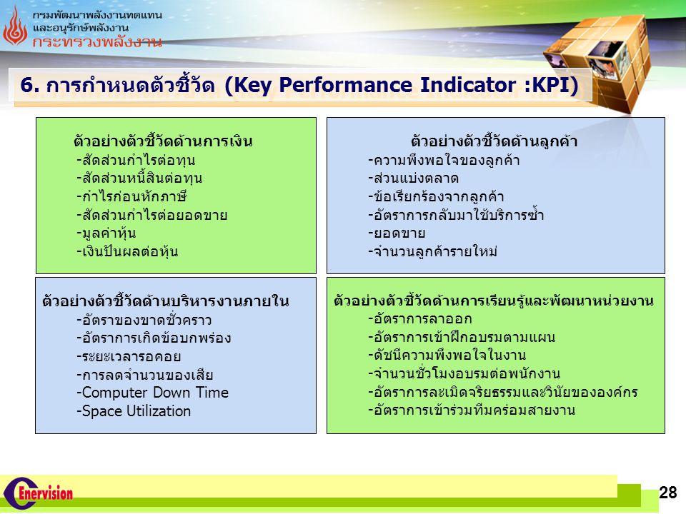 6. การกำหนดตัวชี้วัด (Key Performance Indicator :KPI)