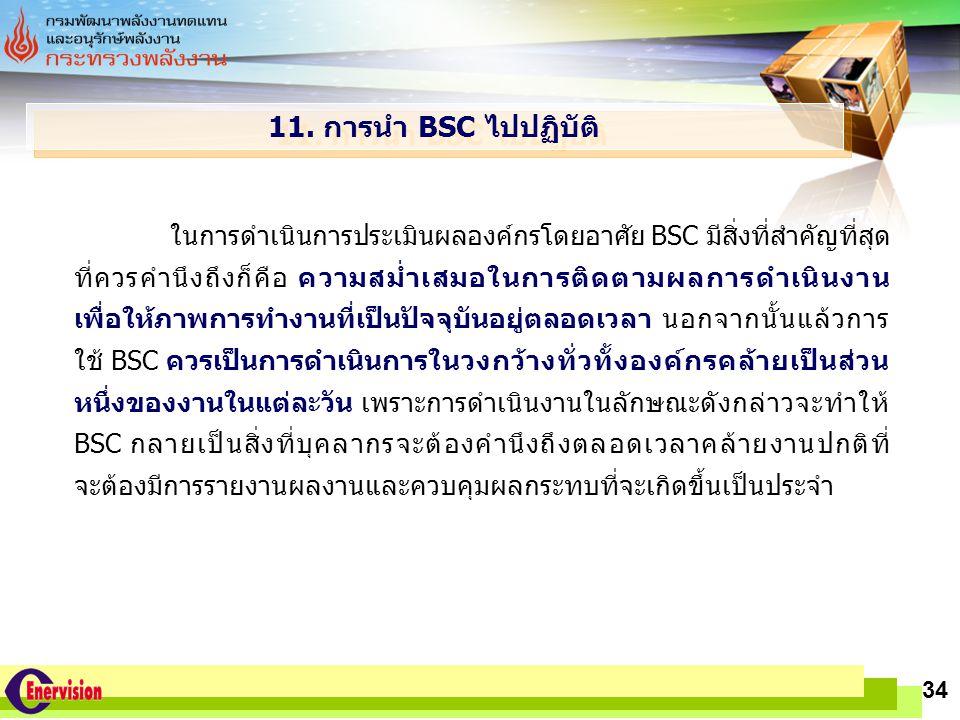11. การนำ BSC ไปปฏิบัติ