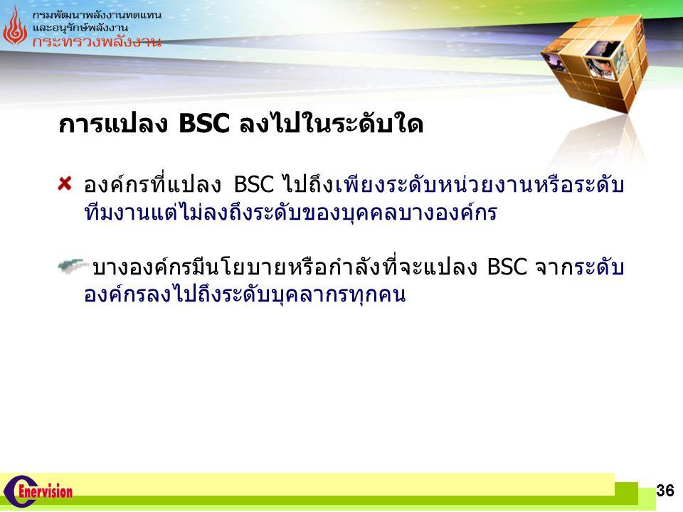 การแปลง BSC ลงไปในระดับใด