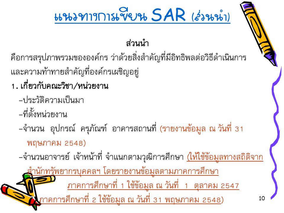 แนวทางการเขียน SAR (ส่วนนำ)