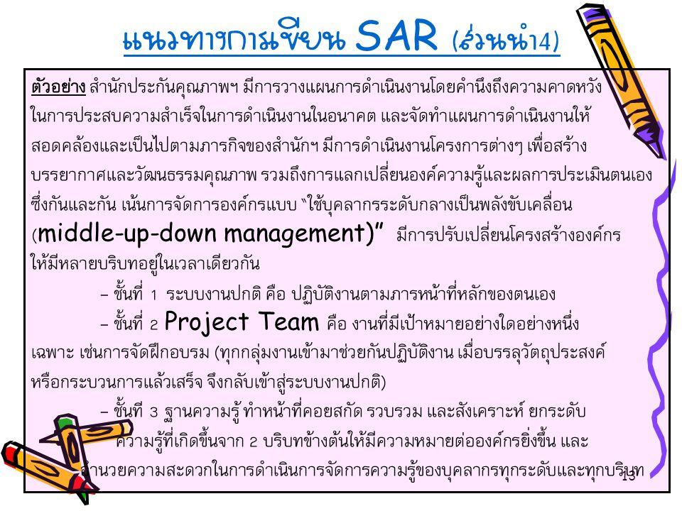 แนวทางการเขียน SAR (ส่วนนำ4)