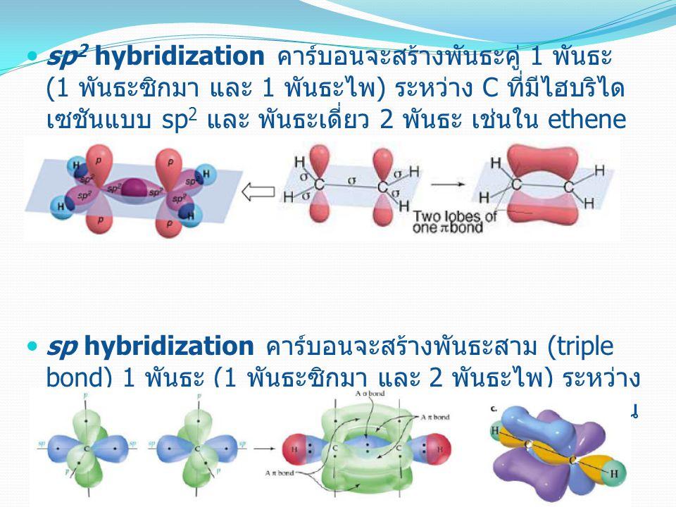 sp2 hybridization คาร์บอนจะสร้างพันธะคู่ 1 พันธะ (1 พันธะซิกมา และ 1 พันธะไพ) ระหว่าง C ที่มีไฮบริไดเซชันแบบ sp2 และ พันธะเดี่ยว 2 พันธะ เช่นใน ethene