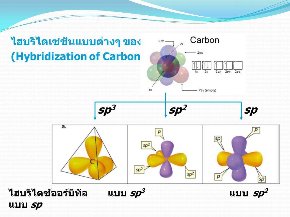 sp3 sp2 sp ไฮบริไดเซชันแบบต่างๆ ของ C (Hybridization of Carbon)