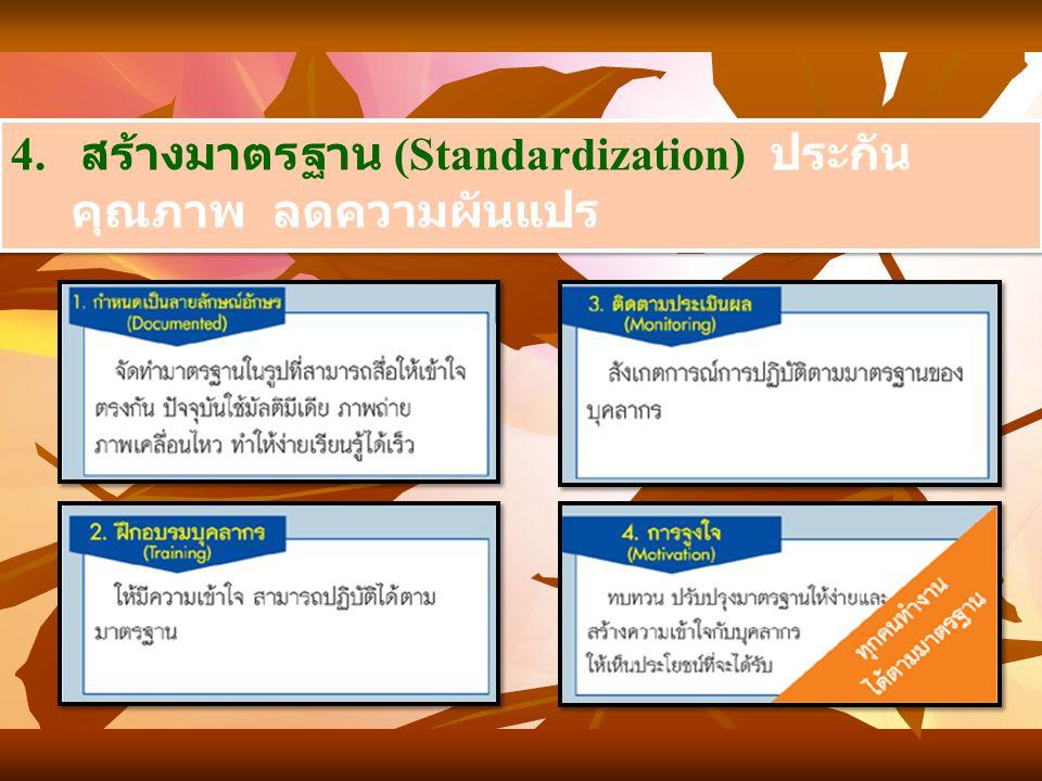 4. สร้างมาตรฐาน (Standardization) ประกันคุณภาพ ลดความผันแปร