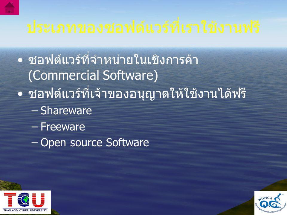 ประเภทของซอฟต์แวร์ที่เราใช้งานฟรี
