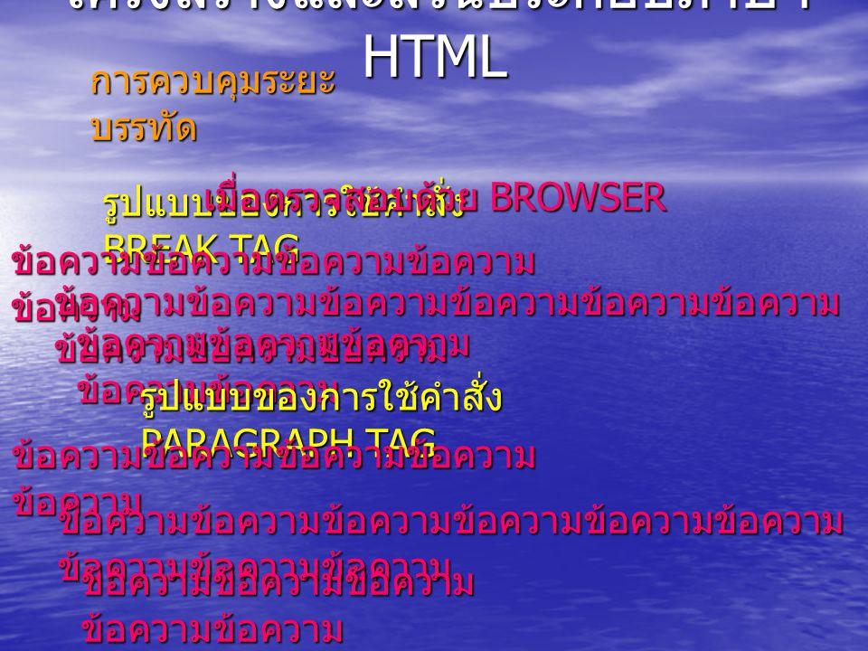 โครงสร้างและส่วนประกอบภาษา HTML