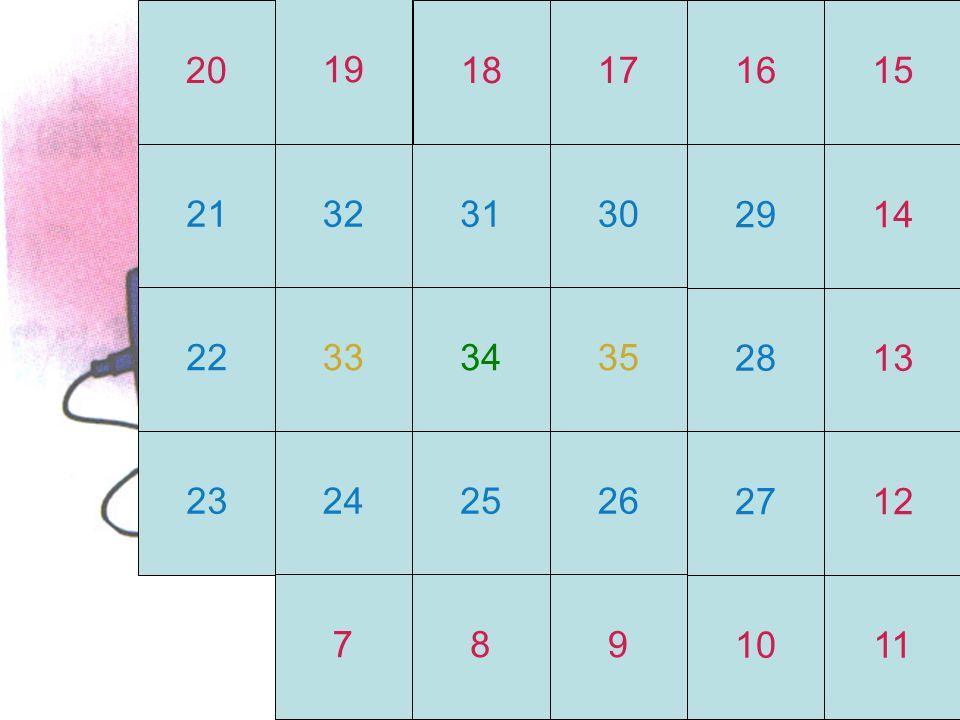 20 19 18 17 16 15 21 32 31 30 29 14 22 33 34 35 28 13 23 24 25 26 27 12 7 8 9 10 11