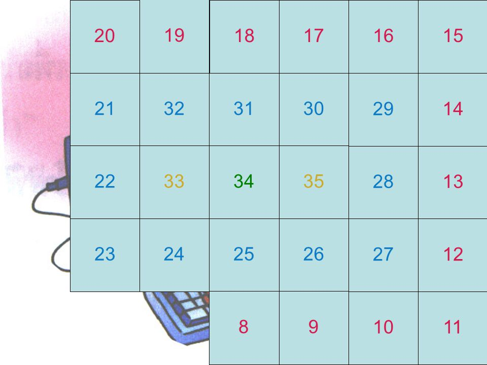 20 19 18 17 16 15 21 32 31 30 29 14 22 33 34 35 28 13 23 24 25 26 27 12 8 9 10 11
