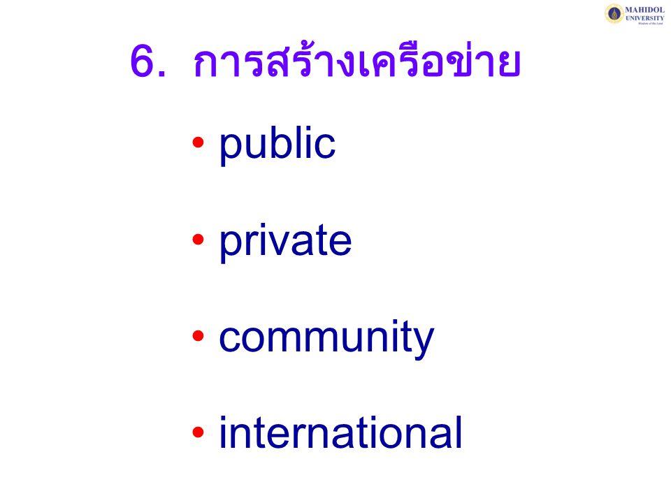 6. การสร้างเครือข่าย public private community international