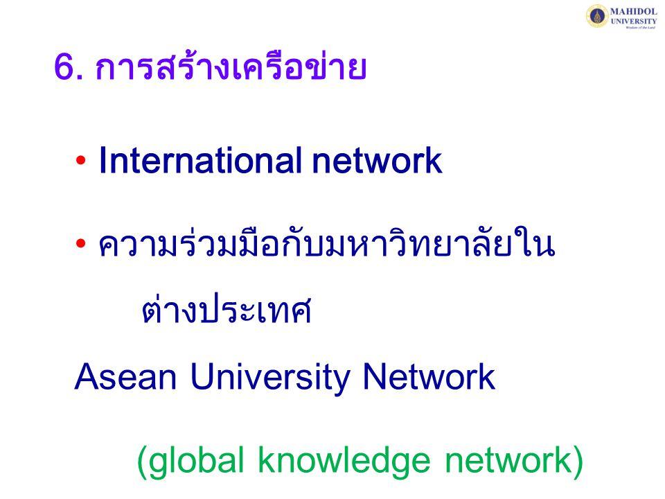 6. การสร้างเครือข่าย International network. ความร่วมมือกับมหาวิทยาลัยใน ต่างประเทศ Asean University Network.