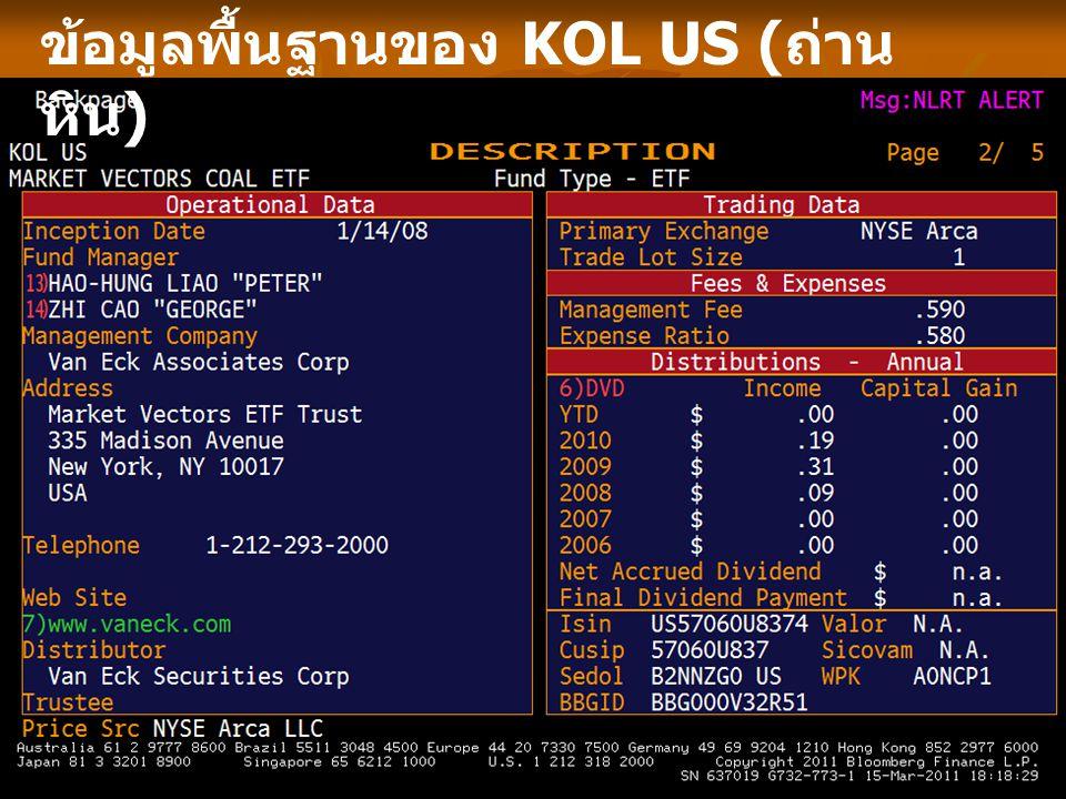 ข้อมูลพื้นฐานของ KOL US (ถ่านหิน)