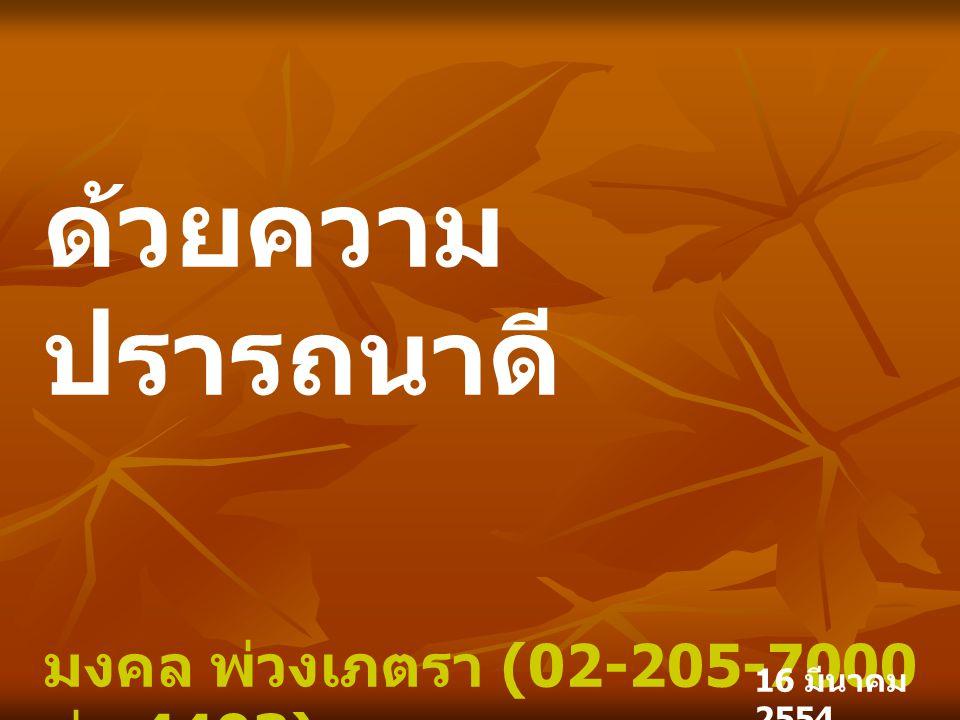 ด้วยความปรารถนาดี มงคล พ่วงเภตรา (02-205-7000 ต่อ 4403)
