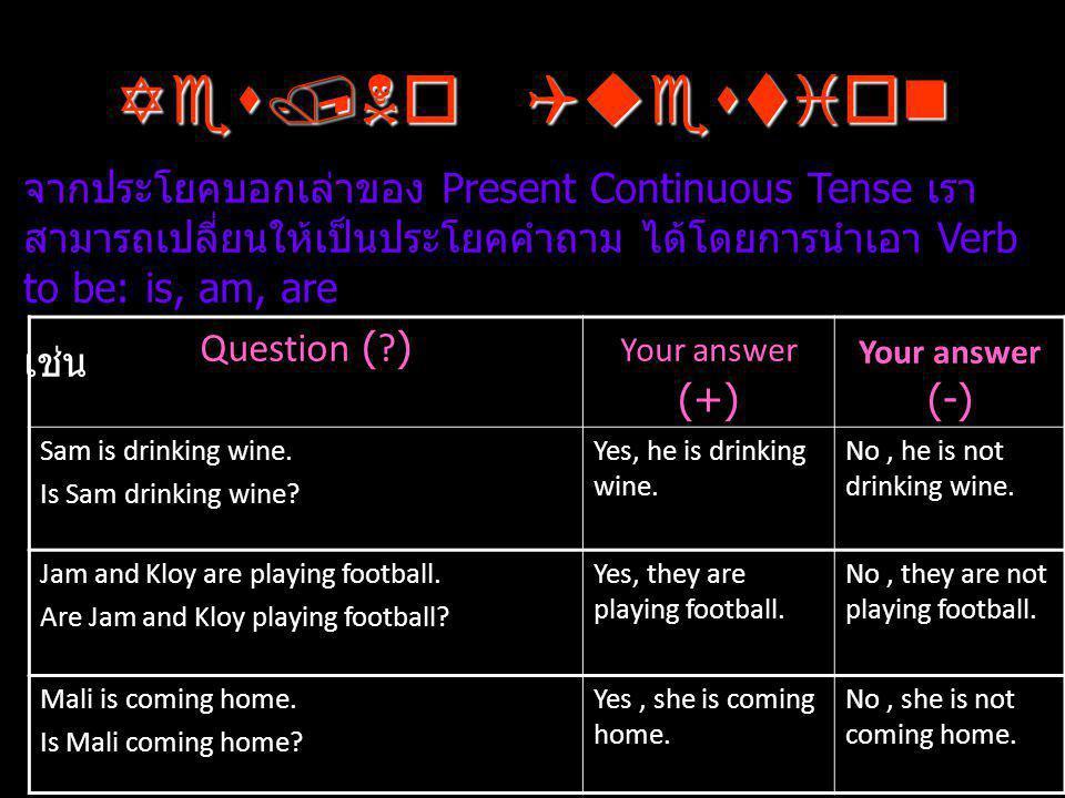 Yes/No Question จากประโยคบอกเล่าของ Present Continuous Tense เราสามารถเปลี่ยนให้เป็นประโยคคำถาม ได้โดยการนำเอา Verb to be: is, am, are.