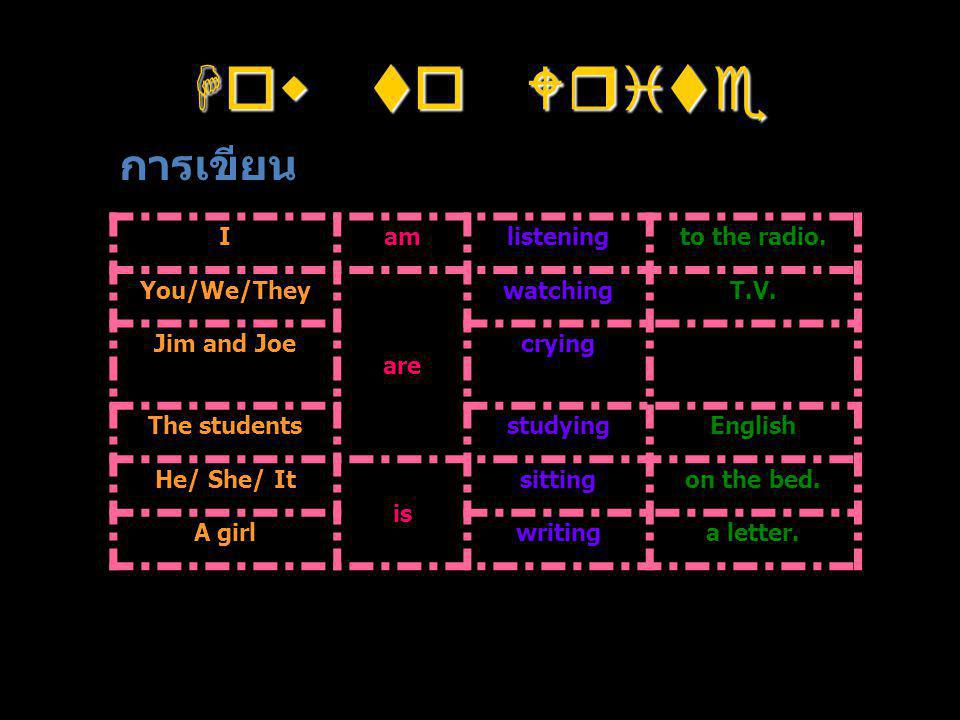 How to Write การเขียน I am listening to the radio. You/We/They are