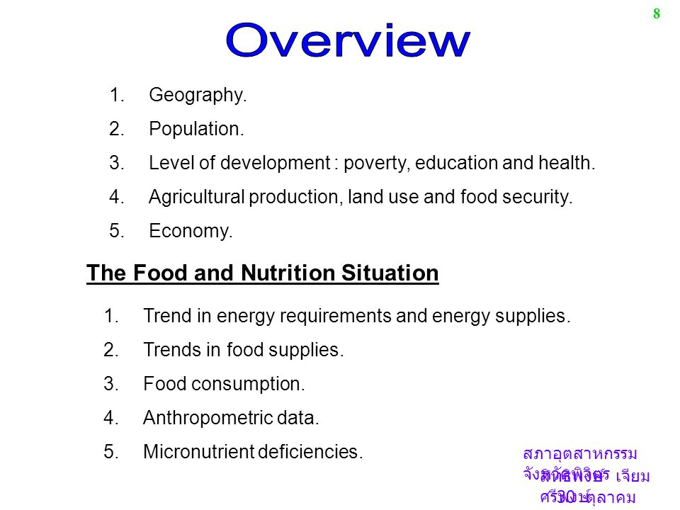 Overview The Food and Nutrition Situation Geography. Population.