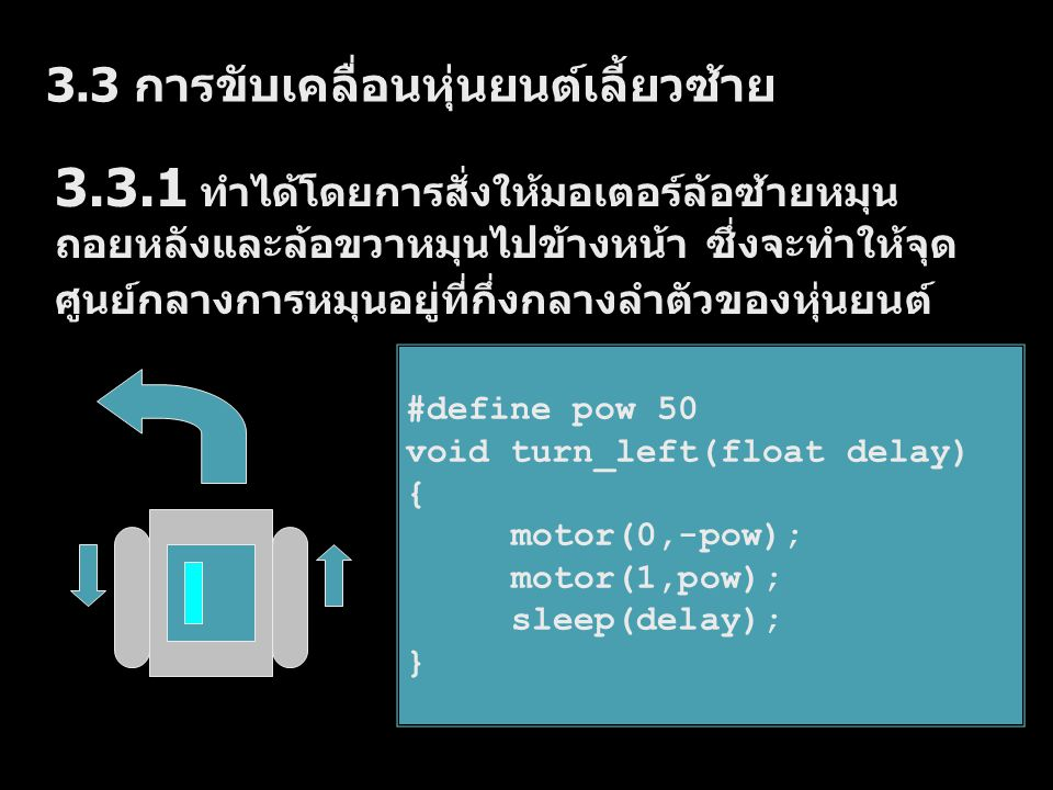 3.3 การขับเคลื่อนหุ่นยนต์เลี้ยวซ้าย